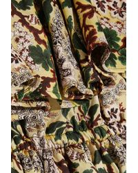 Philosophy Di Lorenzo Serafini - Green Off-the-shoulder Floral-jacquard Mini Dress - Lyst