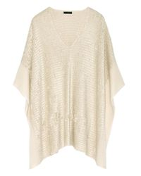 Donna Karan | Multicolor Silk And Cashmere-blend Chenille Poncho | Lyst