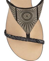 Schutz - Black Embellished Leather Sandals - Lyst
