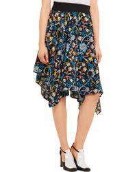 J.W. Anderson - Black Floral Printed Crepe De Chine Skirt - Lyst