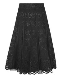 Marc Jacobs Black Pleated Tulle And Broderie Anglaise Cotton Skirt
