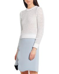 Carven - White Chenille-knit Cotton-blend Sweater - Lyst
