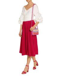 Nancy Gonzalez Pink Appliquéd Glossed-crocodile Shoulder Bag