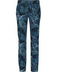 Marc By Marc Jacobs Blue Printed Crepe Slim-leg Pants