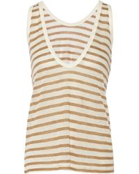 T By Alexander Wang - Natural Striped Jersey Tank - Lyst