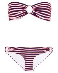 Melissa Odabash | Red Evita Striped Bandeau Bikini | Lyst