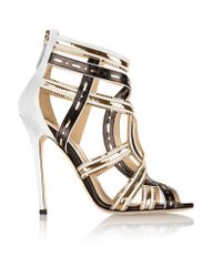 Brian Atwood | Black Marva Chain-embellished Leather Sandals | Lyst
