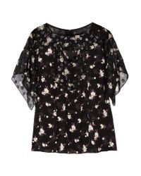 Anna Sui | Black Printed Fil Coupé And Crepe Blouse | Lyst