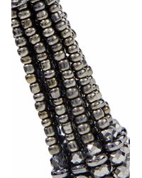 Kenneth Jay Lane Black Gunmetal-tone Beaded Tassel Earrings