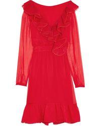Valentino Red - Ruffled Organza-trimmed Silk-chiffon Mini Dress - Crimson