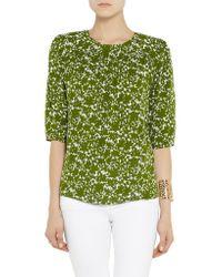 Michael Kors - Green Printed Silk-crepe Top - Lyst