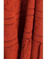 M Missoni Woman Gathered Crochet Cotton-blend Dress Brick