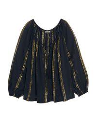 Mes Demoiselles Blue Byzantine Lamé-striped Cotton-gauze Blouse