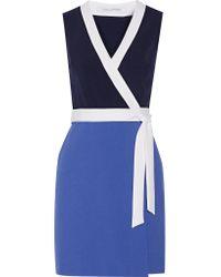 Diane von Furstenberg Blue Gracie Color-block Stretch-crepe Mini Wrap Dress