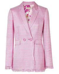 Emilio Pucci Double-breasted Fringed Houndstooth Woven Blazer Pink