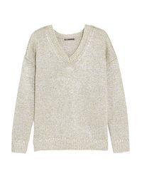 Vince - - Metallic Linen Sweater - Silver - Lyst
