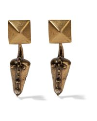 Valentino - Metallic Hammered Gold-plated Earrings - Lyst