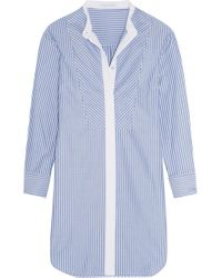Olivia Von Halle - Blue Hemingway Striped Cotton-twill Nightshirt - Lyst