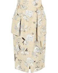 Maison Margiela Natural Floral-print Cotton And Linen-blend Skirt