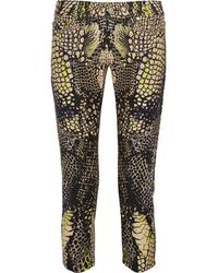 McQ - Cropped Printed Low-rise Skinny Jeans - Black