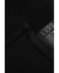 T By Alexander Wang - Black Leather-trimmed Boiled Wool Coat - Lyst