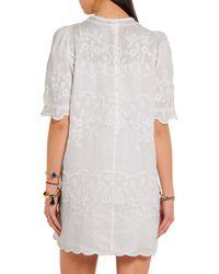 Isabel Marant Woman Ruthel Embroidered Ramie Mini Dress White