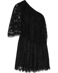 Alexis Black Maji One-shoulder Lace Mini Dress