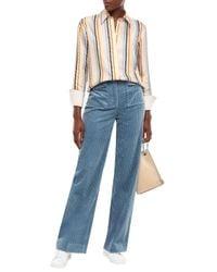Victoria, Victoria Beckham Cotton-corduroy Straight-leg Pants Light Blue