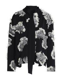 Chloé Palm Jacquard Black White Silk Blend Blouse