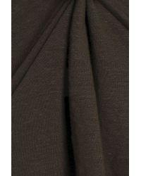 Velvet By Graham & Spencer Slub Linen-blend Jersey T-shirt Dark Brown