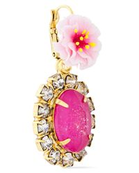 Elizabeth Cole 24-karat Gold-plated Resin And Crystal Earrings Pink