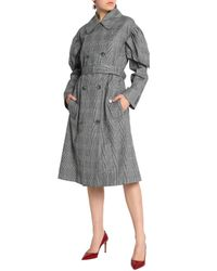 Simone Rocha Gray Gathered Checked Cotton-blend Trench Coat