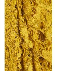 Marchesa notte Yellow Draped Asymmetric Lace Dress Chartreuse