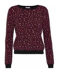 RED Valentino Purple Intarsia-knit Sweater Burgundy
