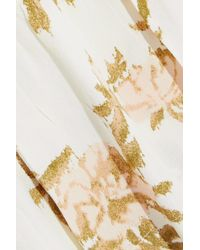 Ganni St. Pierre Floral-print Crepe Top Off-white