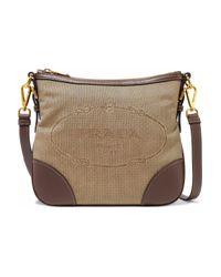 Prada Multicolor Leather-trimmed Canvas Shoulder Bag