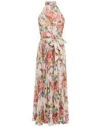 Zimmermann Pink Wavelength Sunday Pleated Floral-print Chiffon Midi Dress
