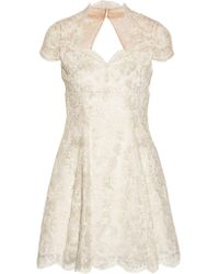 Notte by Marchesa White Embroidered Tulle Mini Dress