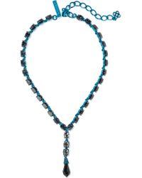 Oscar de la Renta - Blue Coated Crystal Necklace - Lyst