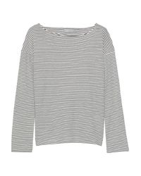 Vince Striped Pima Cotton-jersey Top Gray