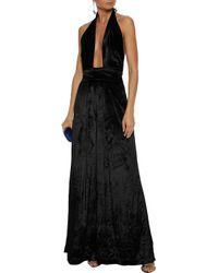 MILLY - Woman Crushed-velvet Halterneck Jumpsuit Black - Lyst
