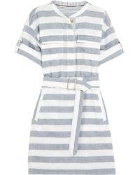 Burberry Blue Belted Striped Cotton Shirt Dress