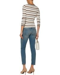 Current/Elliott - Blue The Easy Stiletto Low-rise Skinny Jeans Mid Denim - Lyst