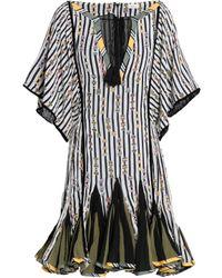 Talitha Tasseled Printed Silk-chiffon Mini Dress White