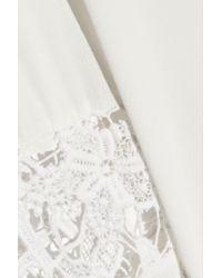 IRO - White Dethie Guipure Lace-paneled Crepe Shirt - Lyst