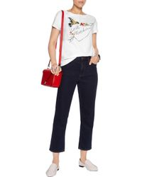 Love Moschino - White Embroidered Cotton-blend T-shirt - Lyst