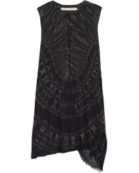 Raquel Allegra Black Tie-dyed Stretch Cotton-blend Jersey Mini Dress