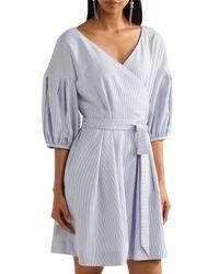 ADEAM Belted Striped Seersucker Playsuit Light Blue