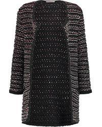 Maje - Memory Metallic Bouclé-knit Cardigan - Black