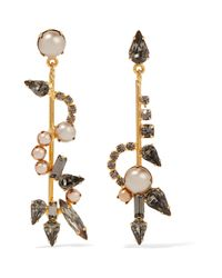 Elizabeth Cole | Metallic Gold-plated, Swarovski Crystal And Faux Pearl Earrings | Lyst